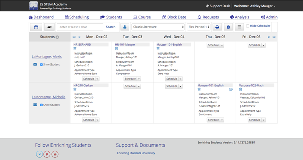 Enriching Students application showing the flex Scheduling page