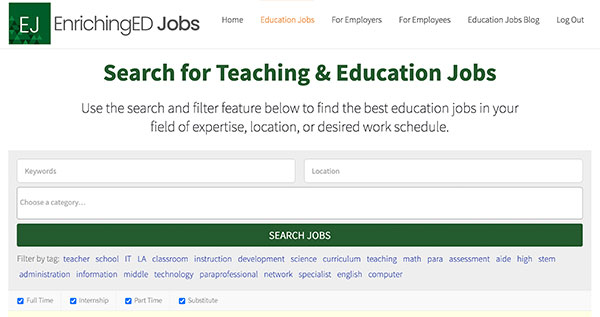 The Education Jobs search page on the EnrichingEd Jobs Website